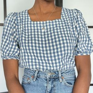 Oak + Fort gingham square neck balloon sleeve top